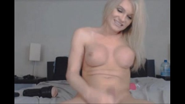 Blonde shemale solo facial on webcam – more on shemalecumcams.com