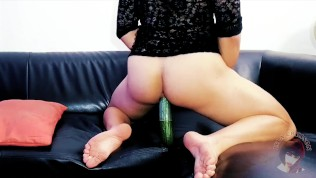 Cute Shemale Sucks Huge Cucumber And Rides It With Her Tight Ass That Grips