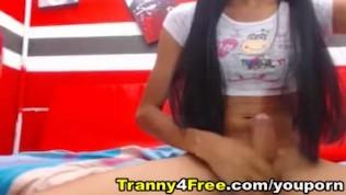 Two Horny Tranny Masturbate On Webcam